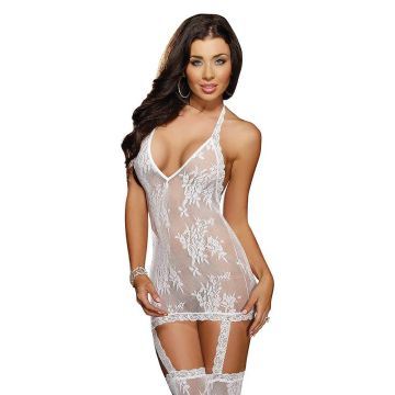 White Foral Lace Gartered Bodystocking