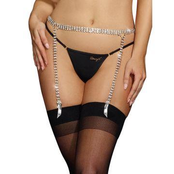 Dreamgirl Silver Rhinestone Trimmed Garter Belt Body Jewellery