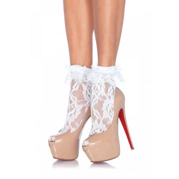 Leg Avenue Lace Anklet With Ruffle - White