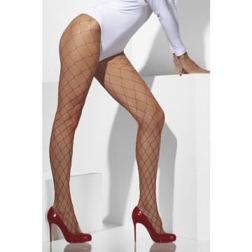 Fever Diamond Net Tights - Red