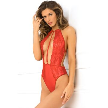 Rene Rofe Hot Pursuit Lace Bodysuit - Red RR502140