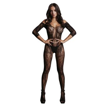 Le Desir Lace Sleeved Bardot Bodystocking