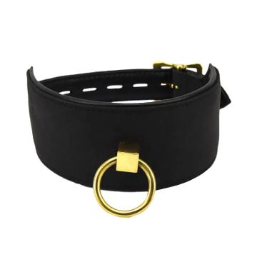Bound Noir Nubuck Leather Collar With O-RIng