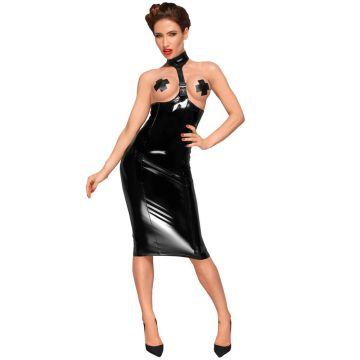 Noir Handmade PVC Choker Open Cup Dress