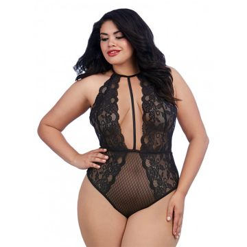 Dreamgirl Plus Size Stretch Lace Teddy with Plunge Front