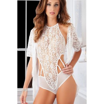 G World Lace High Neck Teddy and Robe