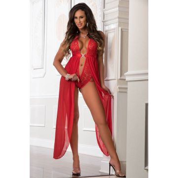 G World Lace Plunge Bodysuit Gown