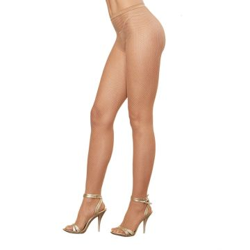 Dreamgirl Fishnet Pantyhose with Back Seam - Nude