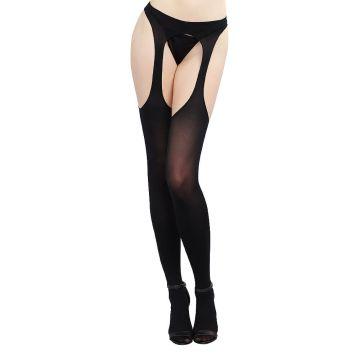 Opaque Suspender Pantyhose Black