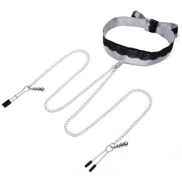Fifty Shades of Grey Play Nice Satin Collar & Nipple Clamps