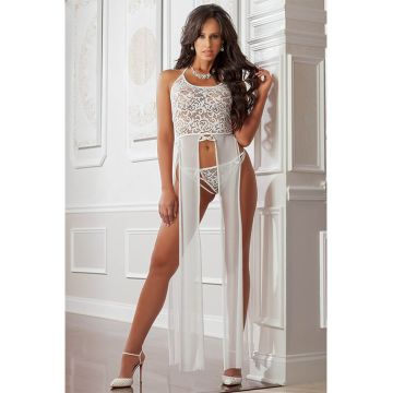 G World Midnight Pearl Slitted Halter Gown