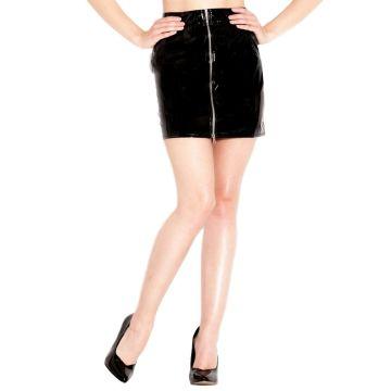Honour PVC Silver Zip Mini Skirt