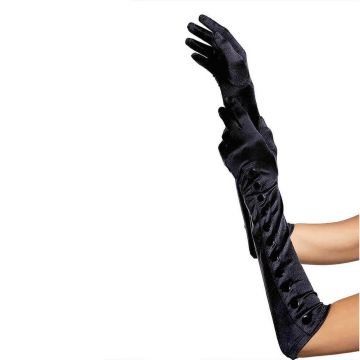 Leg Avenue Button Up Black Satin Gloves