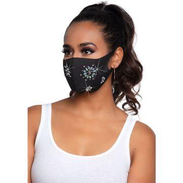 Fleur Rhinestone Face Mask