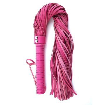 Rouge Pink Leather Handle Flogger