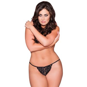 Tina Split Crotch Lace Thong - Black - One Size Queen by Seven 'til Midnight