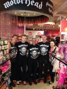 Harmony Store London staff Motorhead shirts