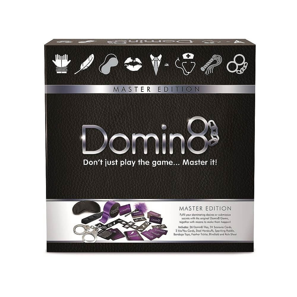 the purple box of the domin8 dominoes game, with an image on the front of the contents of the box, namely some bondage gear and game cards